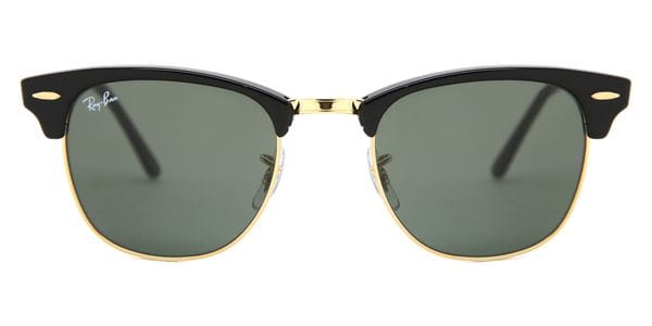 Details about Ray Ban Clubmaster 3016 F 55mm W0365 Black Gold New Sunglasses Authentic