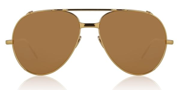 Image of Occhiali da Sole Linda Farrow Aviator Yellow Gold LFL426 C1