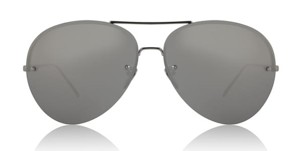Image of Occhiali da Sole Linda Farrow Aviator White Gold LFL574 C2