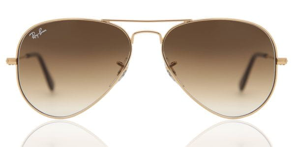 379882824 Ray-Ban RB3025 Aviator Gradient 001/51 Sunglasses Gold ...