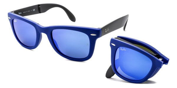 b8ee2fcdd23d3 Ray-Ban RB4105 Wayfarer Folding Flash Lenses 602017 Sunglasses Blue ...