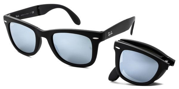 50f60b9893 Ray-Ban RB4105 Wayfarer Folding Flash Lenses 6022 30 Sunglasses Grey ...