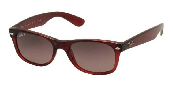 Ray-Ban RB2132 New Wayfarer Polarized 843 77 Sunglasses in Burgundy ... 552e1989a8a4