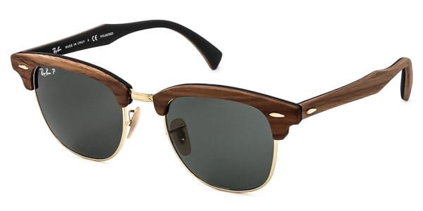 Ray-Ban RB3016M Clubmaster Wood Polarized 118158 Sunglasses Brown ... 0ee2fd89eec