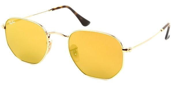 887e61877c7164 Ray-Ban RB3548N Hexagonal Metal Flat Lenses 001 93 Sunglasses Gold ...