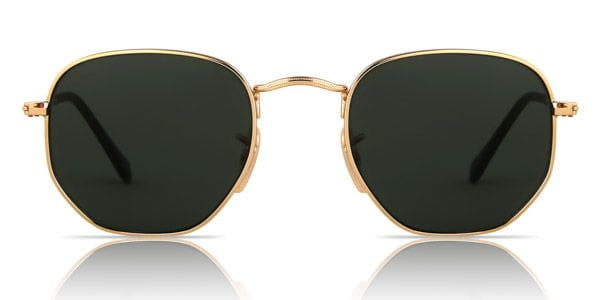 ca195a66a5 Ray-Ban RB3548N Hexagonal Metal Flat Lenses 001 Sunglasses Gold ...