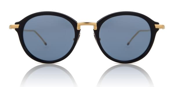 04adcf28ac76 Thom Browne Oval Navy Shiny Gold TB-011-F-T-NVY-GLD Sunglasses Blue ...
